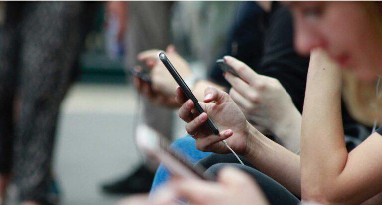 Teens using their phones