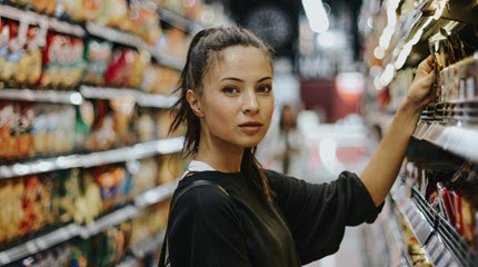 Girl in a grocery store