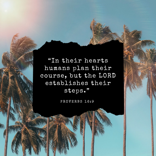 """""""In their hearts humans plan their course, but the LORD establishes their steps."""""""
