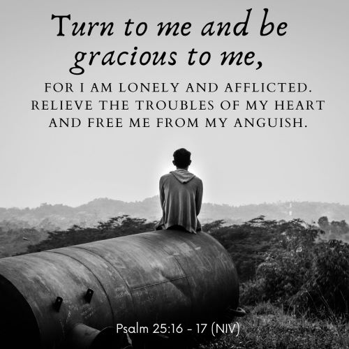 """""""Turn to me and be gracious to me, for I am lonely and afflicted. Relieve the troubles of my heart and free me from my anguish."""""""