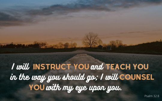 """""""I will instrust you and teach you in the way you should go; I will counsel you with my eye upon you."""